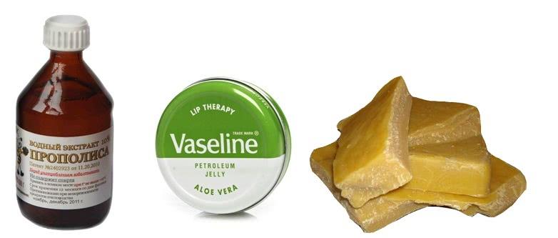 Экстракт прополиса, вазелин и воск