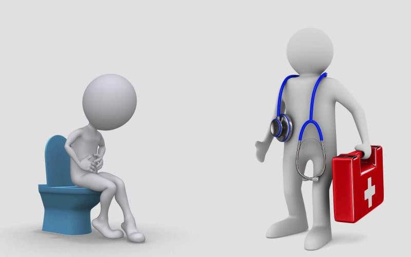 Медицинская помощь, врач и человек на унитазе