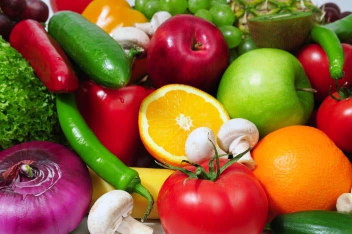 Овощи и фрукты, помидор, апельсин, яблоки, грибы, огурец, перец, виноград, репчатый лук